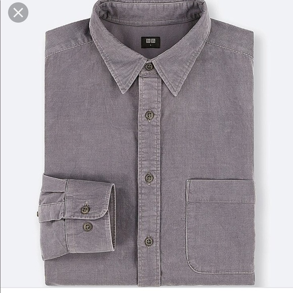 4769323e Uniqlo Shirts | Men Coduroy Gray Long Sleeve Shirt Sz S | Poshmark